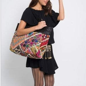 Large Boho Patchwork and Leather Tote Bag
